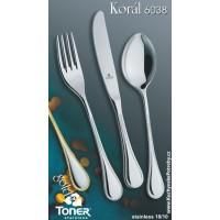Příbory  TONER Koral Gold zlacená jídelní sada  24 ks pro 6 osob nerez 6038