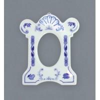 Cibulák Rámeček závěsný na fotografii 9 x 7 cm, originální cibulákový porcelán Dubí, cibulový vzor 1. jakost